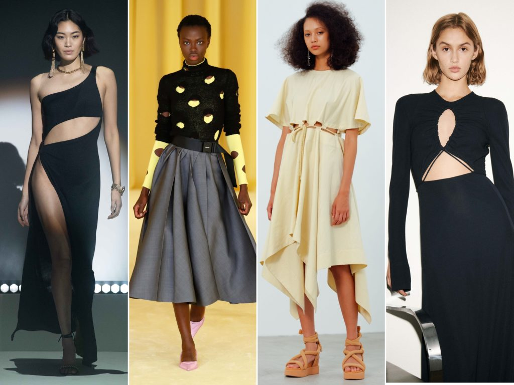 Spring Summer 2021 trends runway coverage Ready To Wear Vogue elevated dresses to wear at home: Cut out dress. Brandon Maxwell, Prada, Issey Miyake, Victoria Beckham
