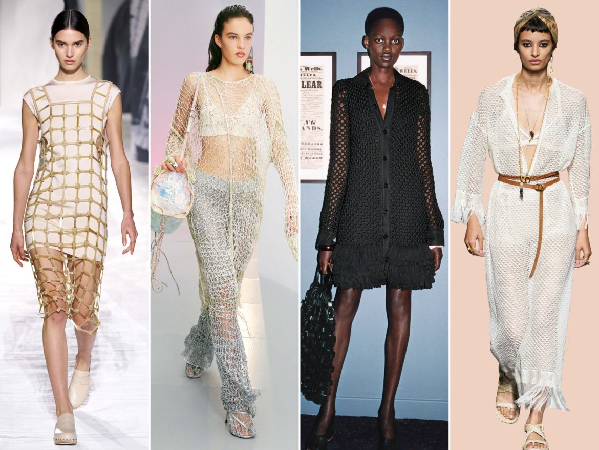 Spring Summer 2021 trends runway coverage Ready To Wear Vogue fishnet trend hermes, acne studios, bottega veneta, dior