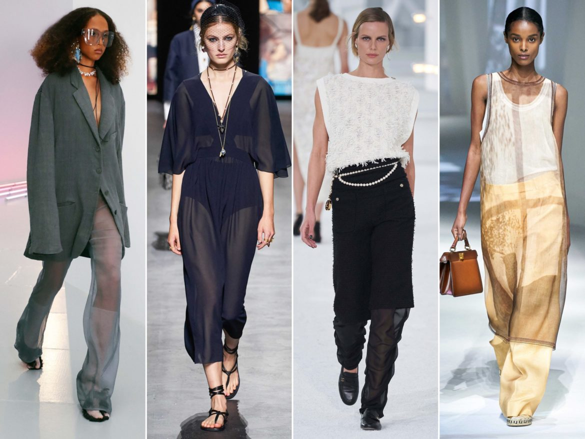 Spring Summer 2021 trends runway coverage Ready To Wear Vogue play with organza Acne Studios, Dior, Chanel, Fendi