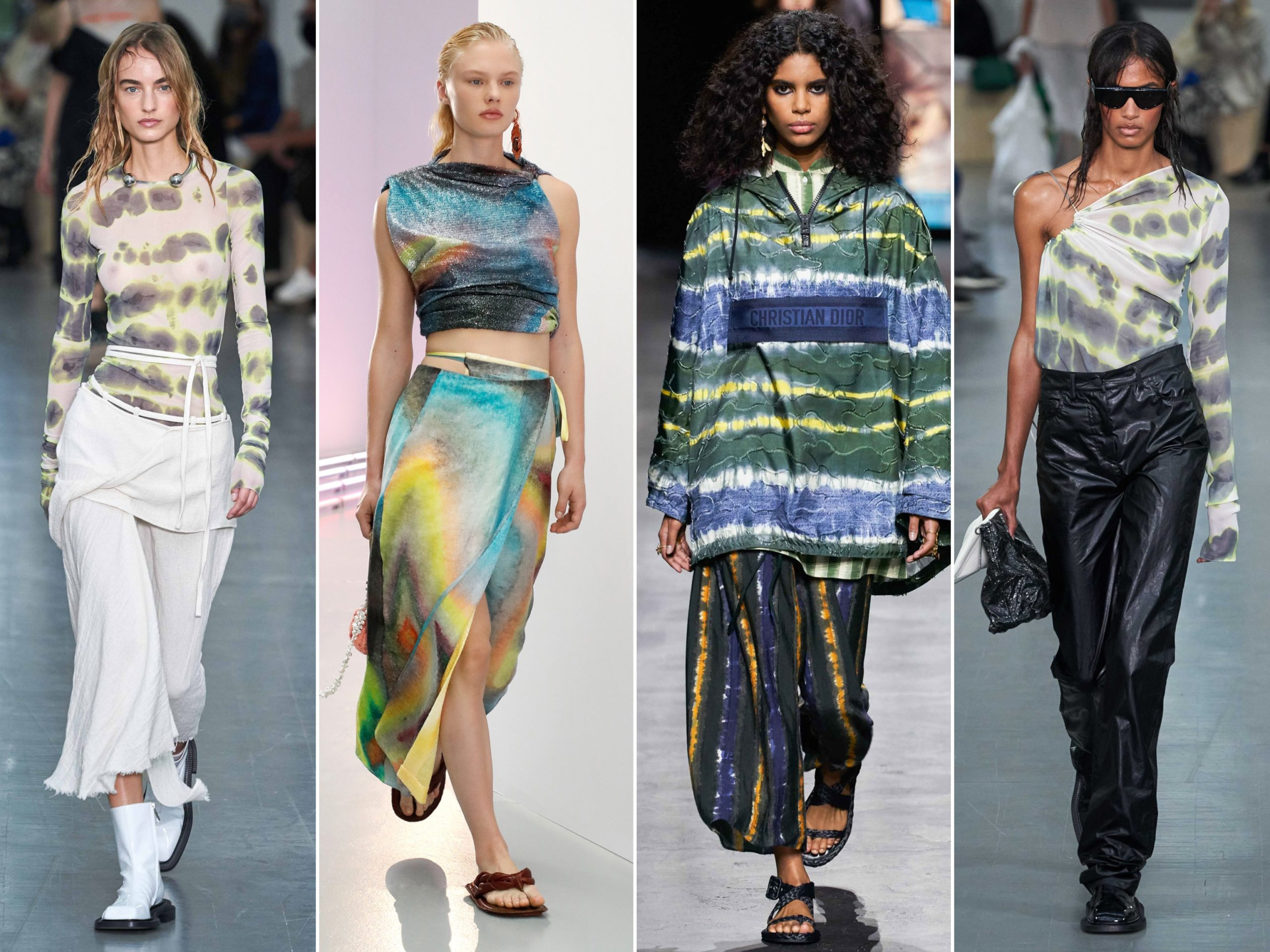 Spring Summer 2021 trends runway coverage Ready To Wear Vogue Luxe Tie Dye Sportmax, Acne Studios, Dior