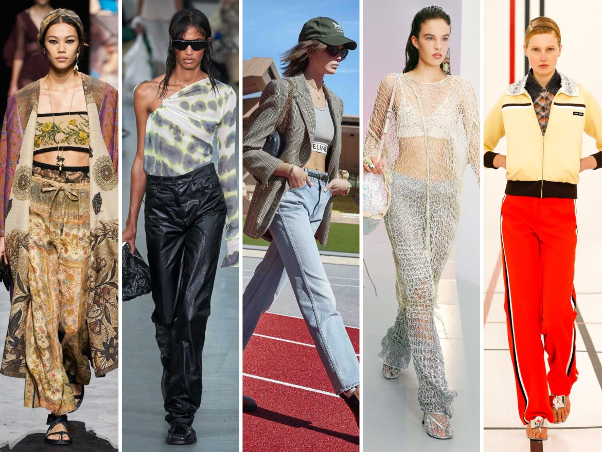Spring Summer 2021 trends runway coverage Ready To Wear Vogue Tie Dye, Scarf print bottoms, fishnet, sport chic, lingerie wear, polo shirt, track pants