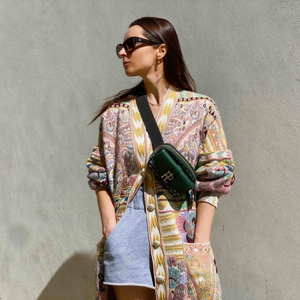 digital fashion street style French-terry-shorts-Cardigan-Etro-Belt-bag-Faure-Le-Page-street-style-fall-winter-2021-to-attend-the-Etro-digital-show-julia-comil-shot-by-Edward-Berthelot