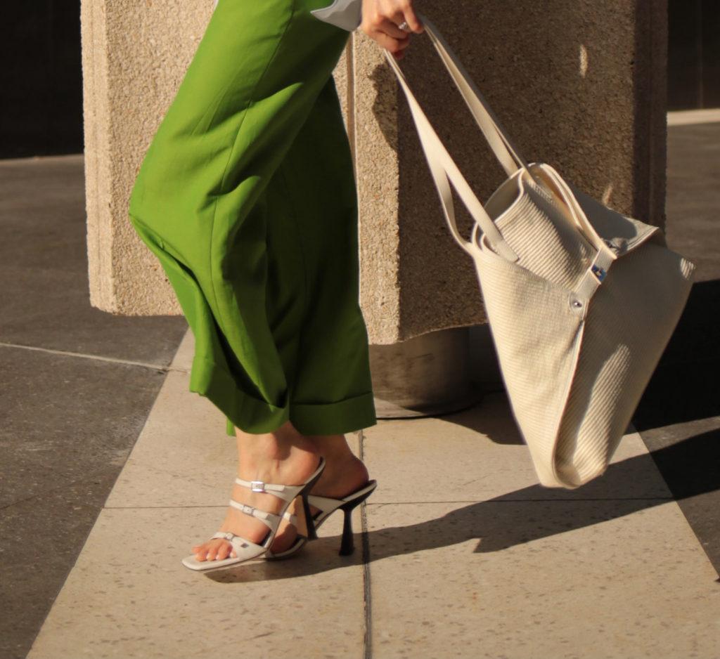 akris bag akris green pants by far sandals spring summer 2021 - street style fall winter 2021 to attend the Akris digital show julia comil
