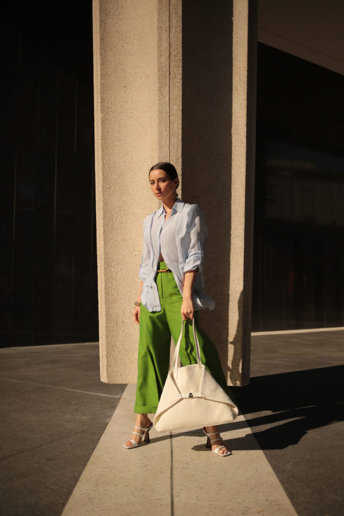 street style fall winter 2021 what i wore for Akris digital show: akris bag akris green pants by far sandals spring summer 2021 - julia comil