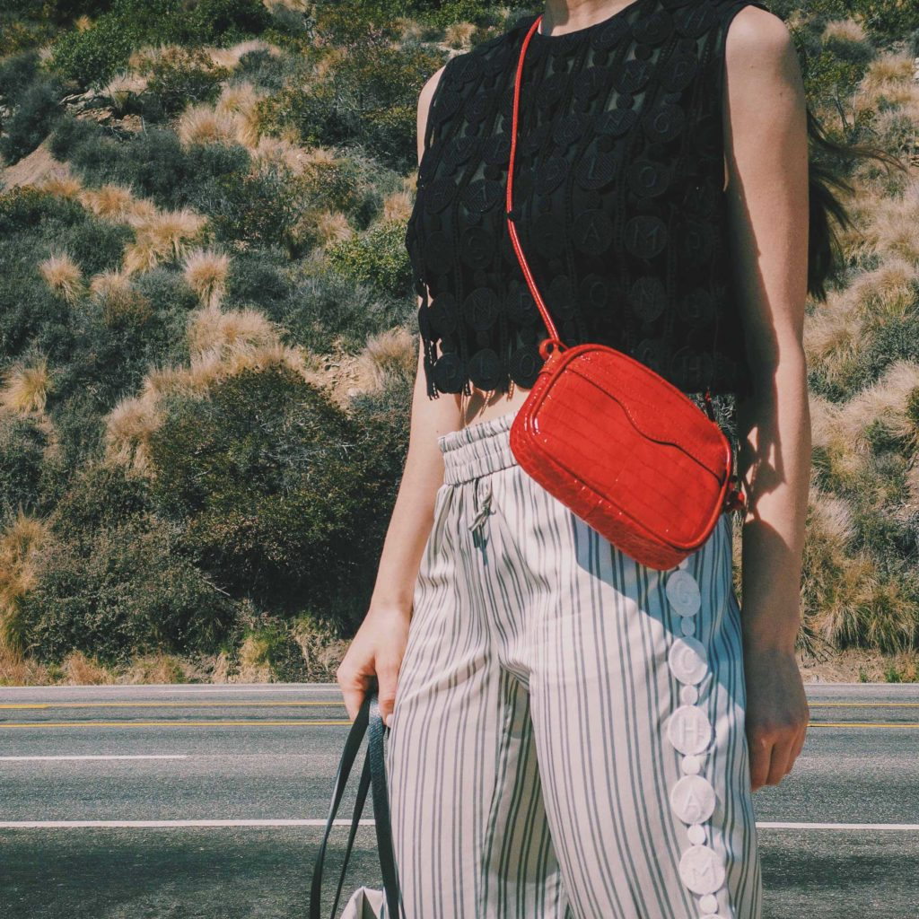 Longchamp-red-camera-bag-silk-striped-track-pants-Longchamp-cropped-top-spring-summer-2021---street-style-fall-winter-2021-to-attend-the-Longchamp-digital-show-julia-comil-shot-by-Edward-Berthelot