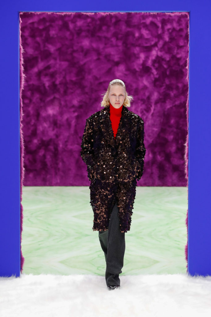 Best coats Fall Winter 2021 from the Runway - coats trends Prada sequins party coat