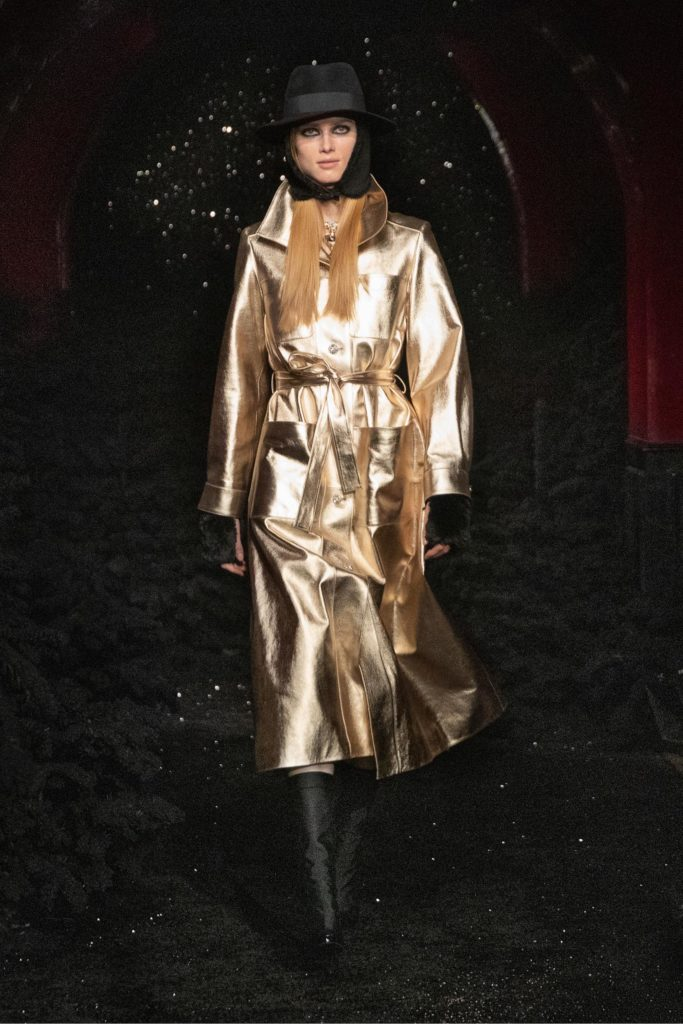 Best coats Fall Winter 2021 from the Runway - coats trends Chanel gold trench coat