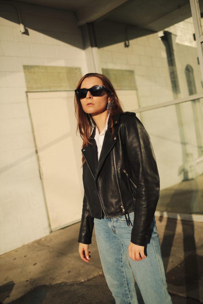 sezane review Zig jacket: black leather biker jacket for women