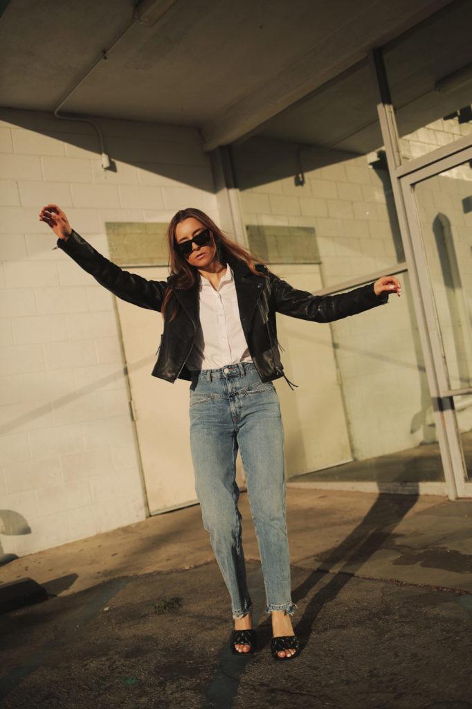 Sezane Zig Black leather perfecto jacket for women