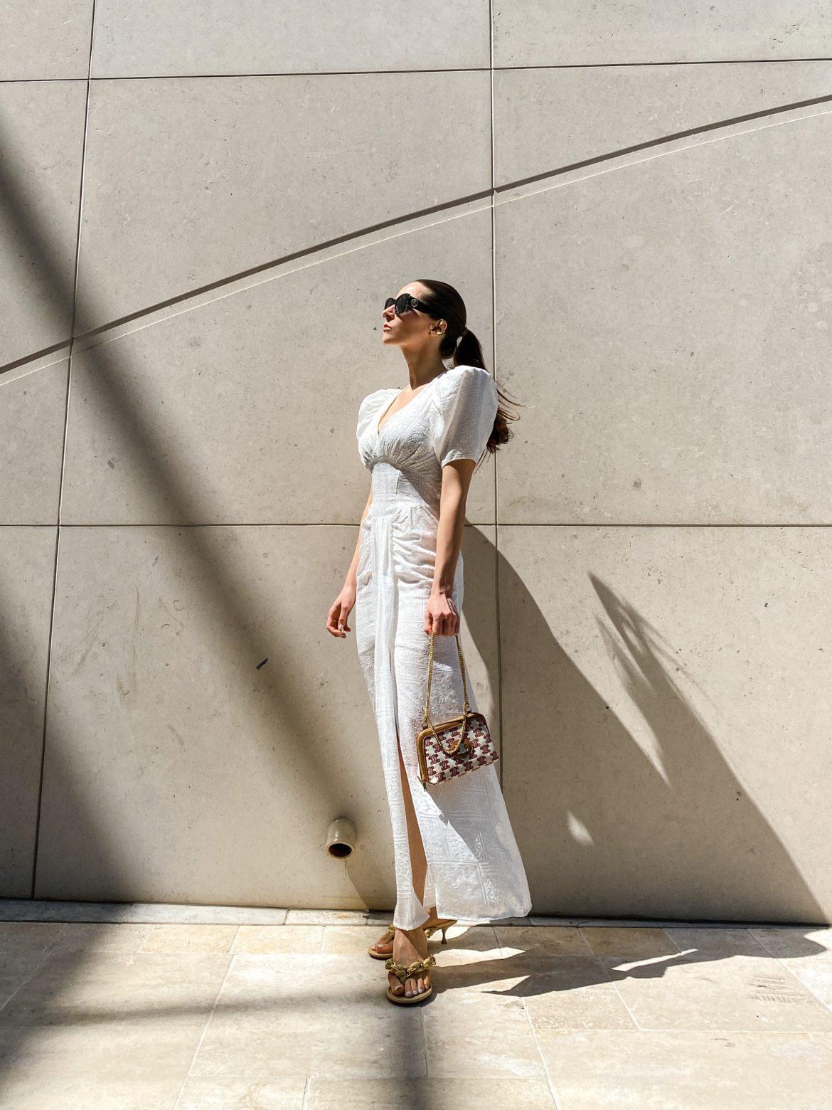 White dress summer dress alma dress white party bottega veneta chain sandals celine clutch bag