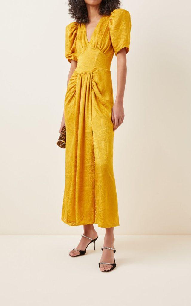 rotate-yellow-alma-puff-sleeve-broderie-midi-dress