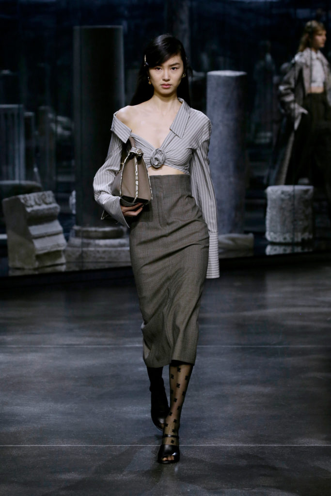 Fendi best Fall Winter 2021 trends fashion week report long high waisted skirt and cropped top