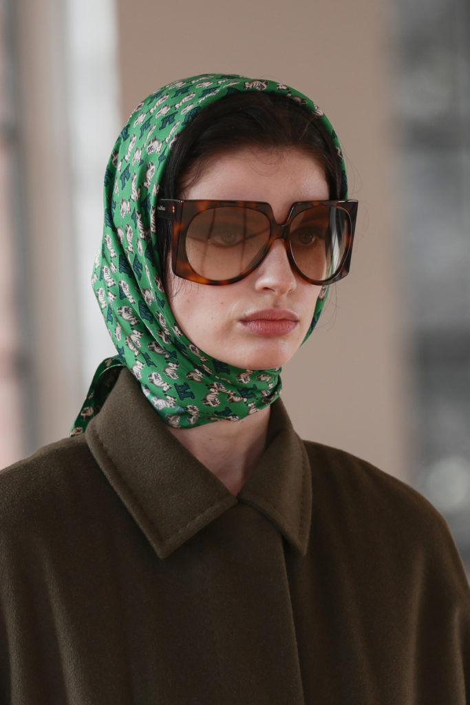 Max Mara best details from the runway Fall Winter 2021 fashion week scarf and sunglasses