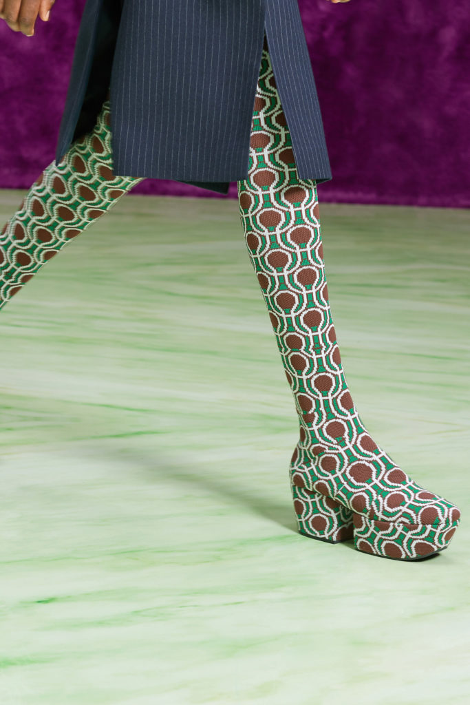 Prada graphic tights boots best details from the runway Fall Winter 2021 fashion week