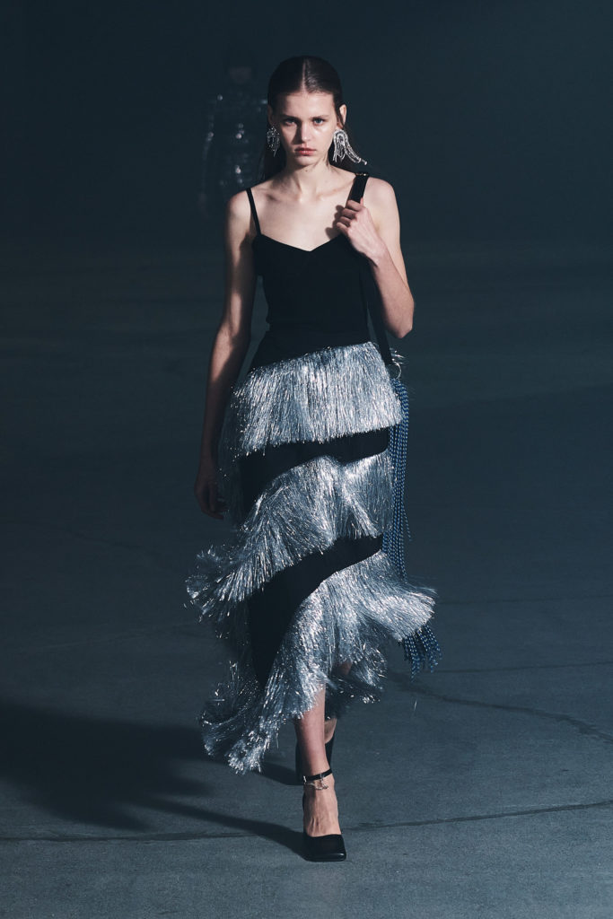 Rokh RTW FW21 best runway trends feather '20s festive outfit