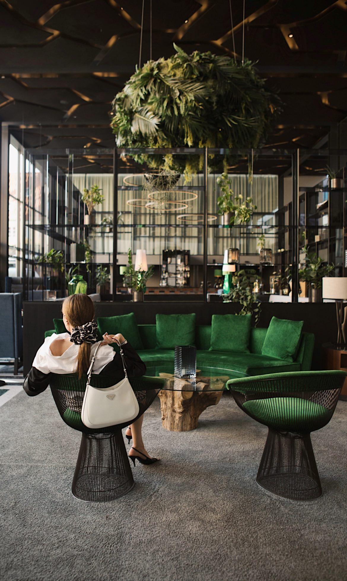 Skt Petri best design boutique hotel in copenhagen lobby platner chair green urban jungle prada cloe julia comil condenast cphfw copenhagen fashion week
